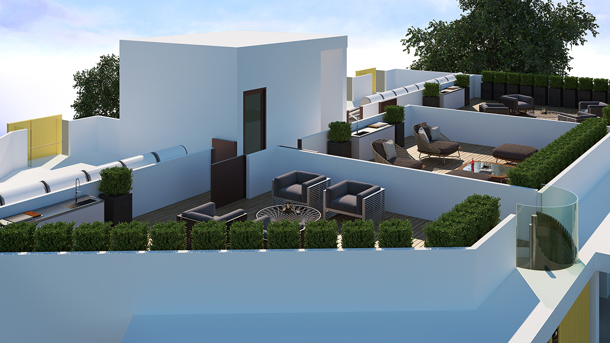 2 bed apts with roof gardens